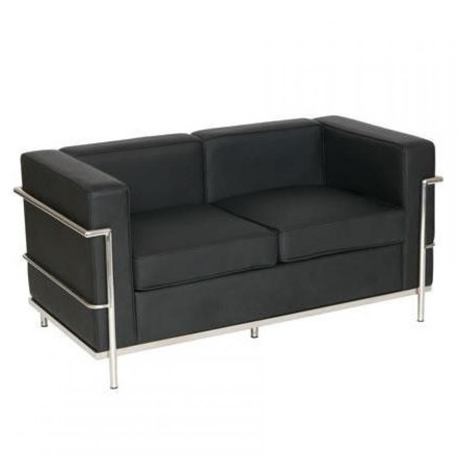 le corbusier style leather sofa 2 seater. Black Bedroom Furniture Sets. Home Design Ideas