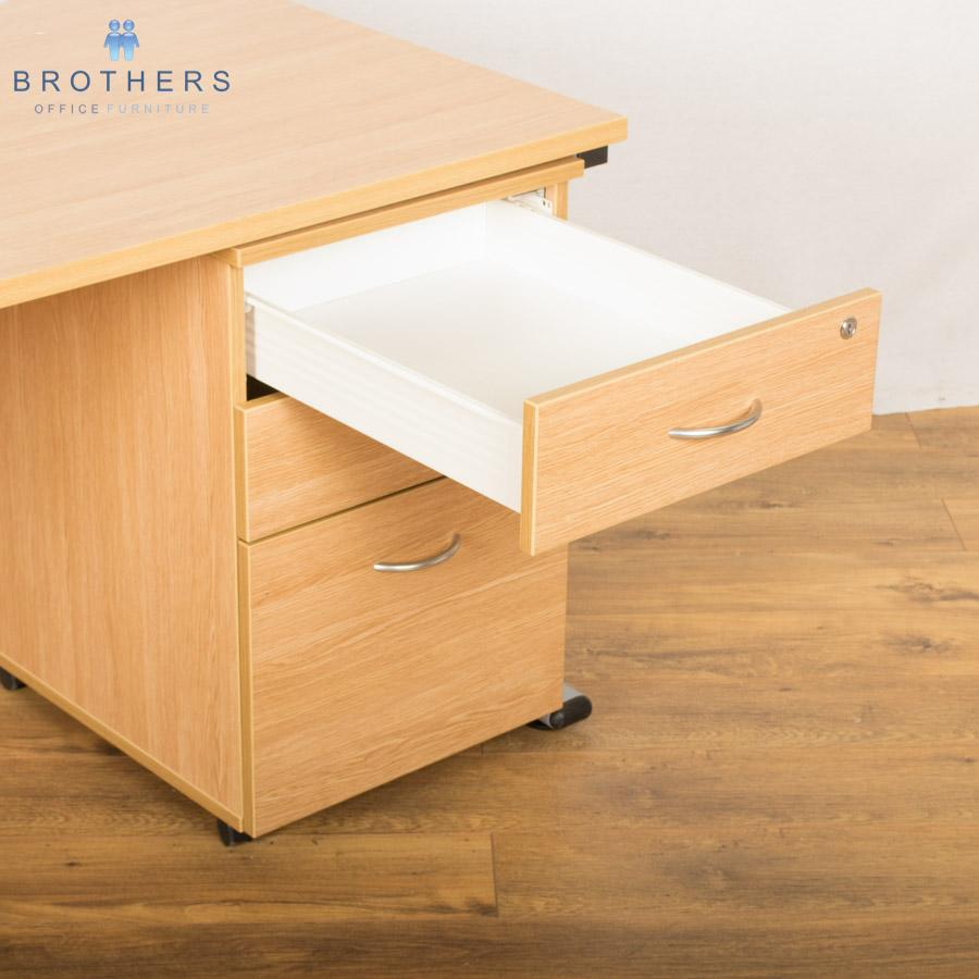 Light Oak Straight Workstation