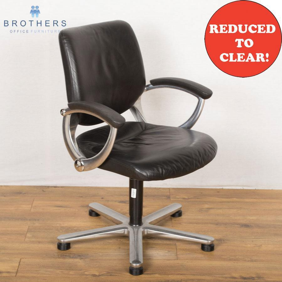 Girsberger Quartal Black Leather Swivel Chair