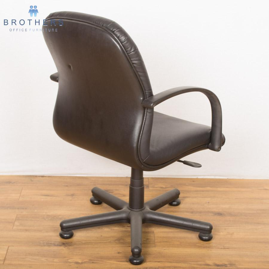 Black Leather Swivel Meeting Chair
