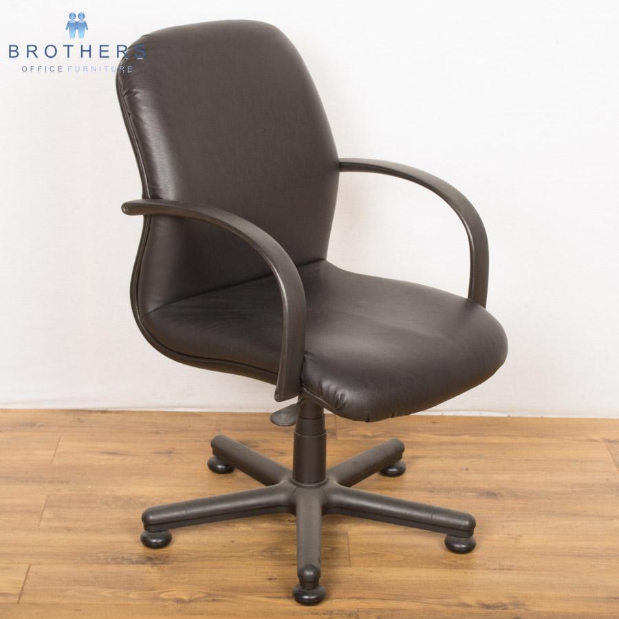 Black Leather Swivel Meeting Chair