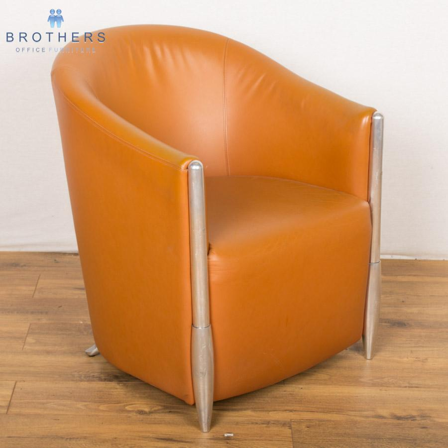 tan leather reception tub chair