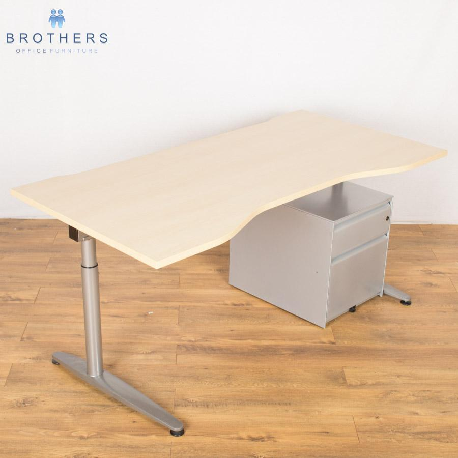 Maple Height Adjustable Double Wave Desk