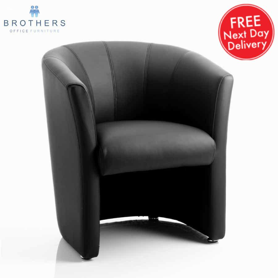 Neo Black Leather Tub Chair