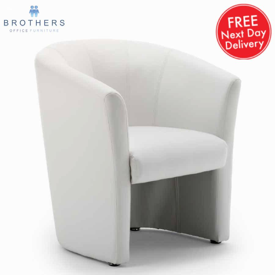 Neo White Leather Tub Chair