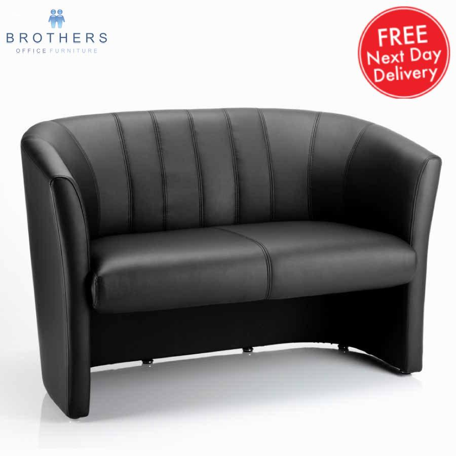 Neo Black Leather Tub Sofa