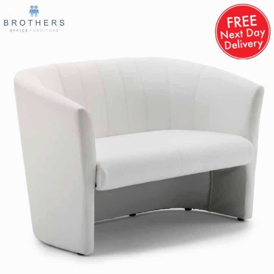 Neo White Leather Tub Sofa
