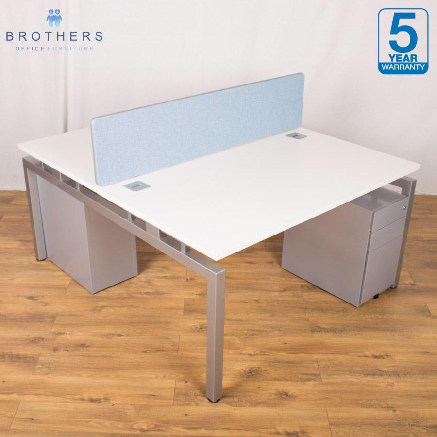 Office furniture uxbridge - Excel White 1400x800 Bench Desks