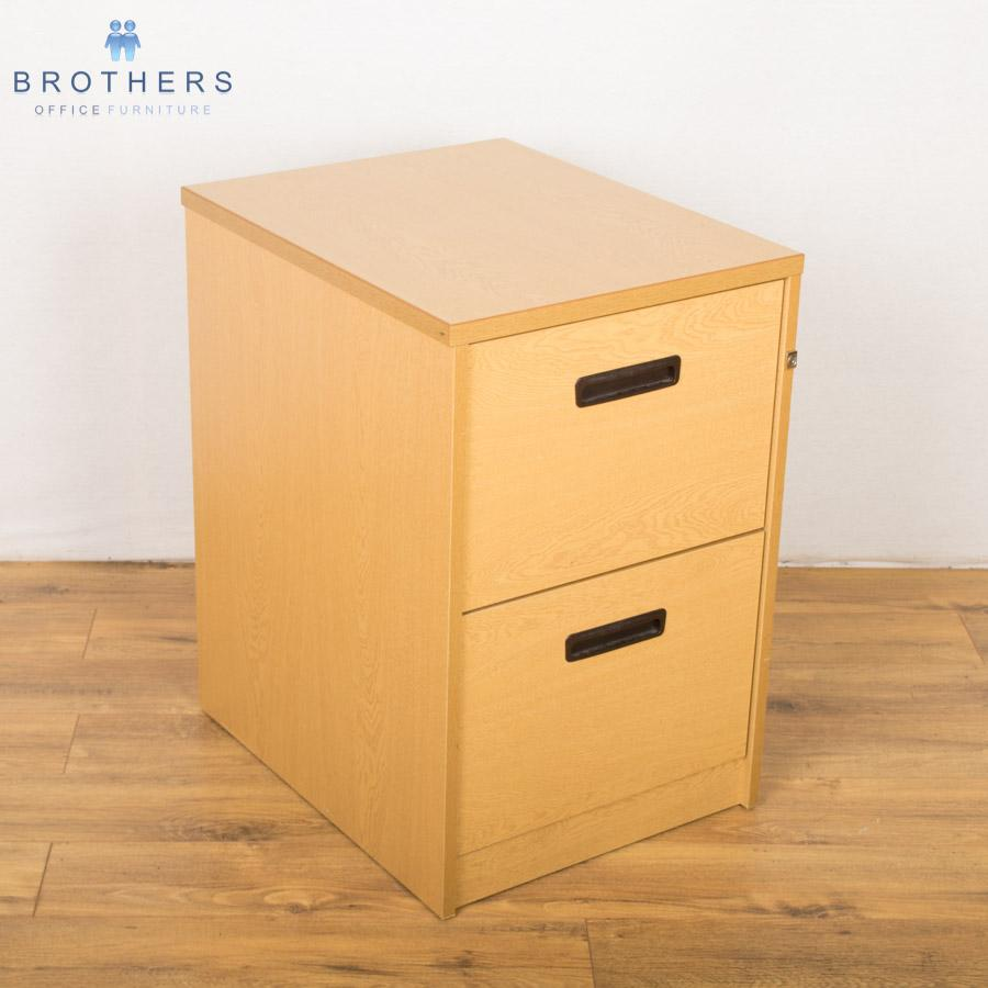 Used Grained Oak 2 Drawer Filing Cabinet