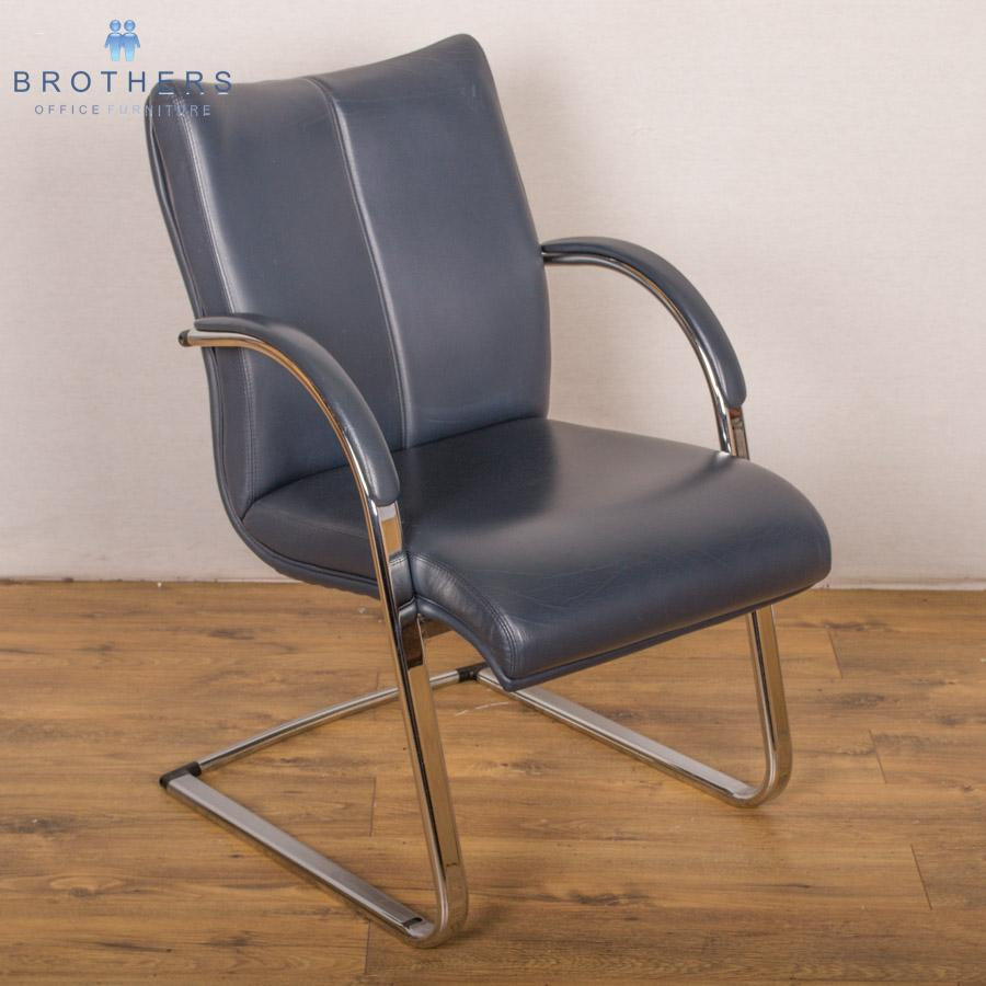 blue leather chrome frame meeting chair