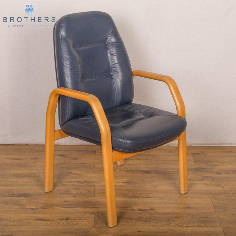 Blue Leather Beech Frame Meeting Chair