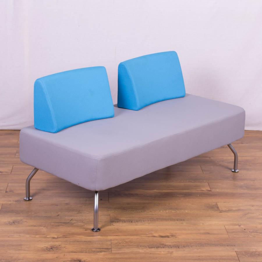 Light grey blue reception sofa 2 back for Blue grey couch