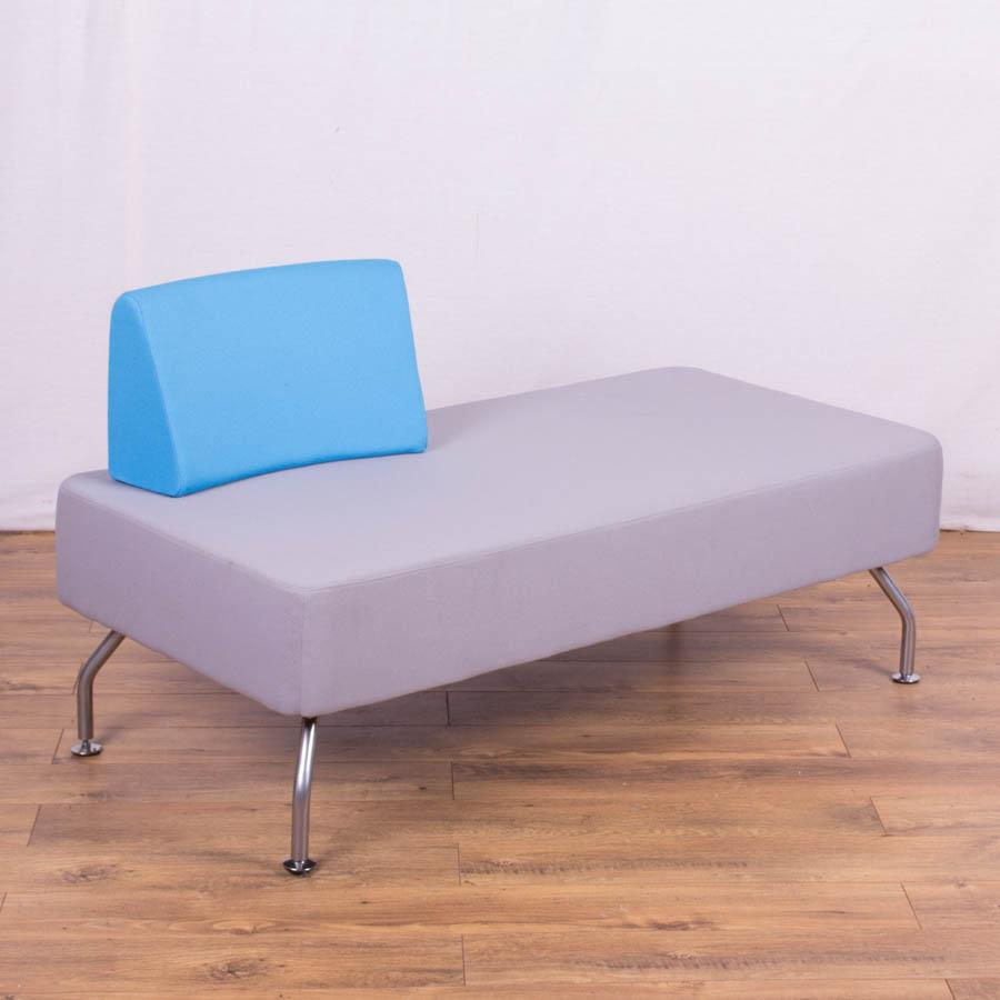 Light Grey/Blue Reception Sofa 1 Back
