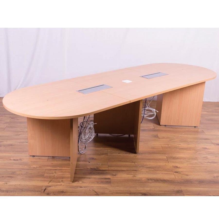 Beech Effect 3000x1000 Oval Meeting Table