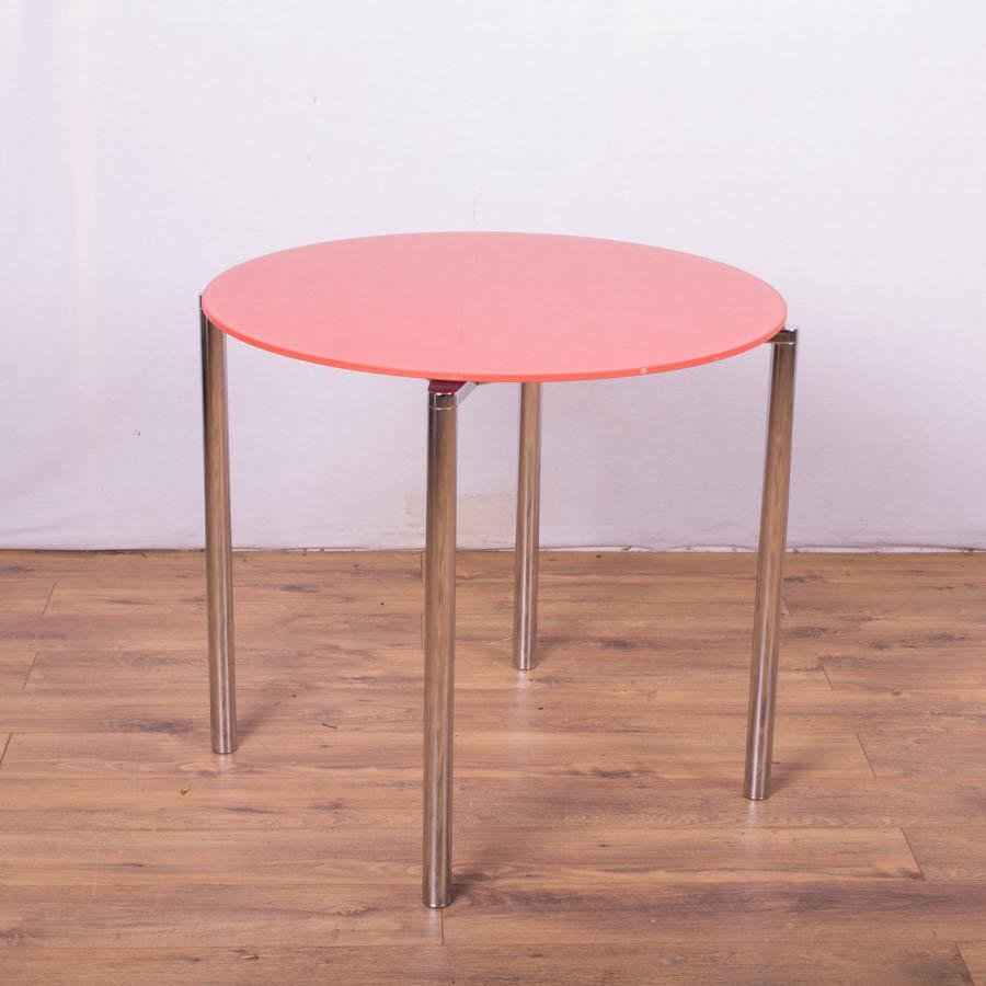 Orange Glass Round Meeting Table