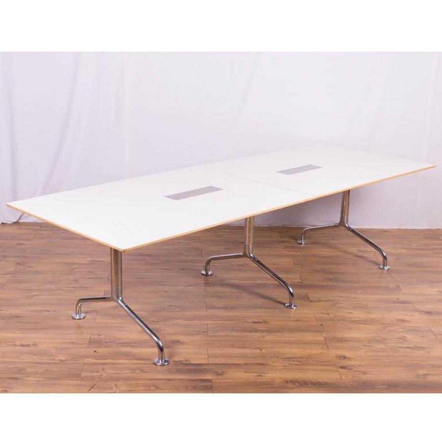 White 2800x1000 Chrome Leg Boardroom Table