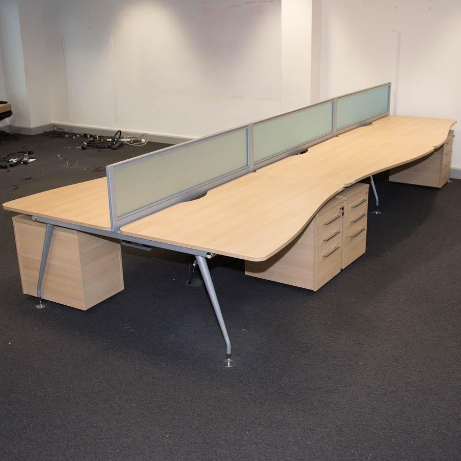 Mobili Vega Sand Zebrano Wave Bench Desks