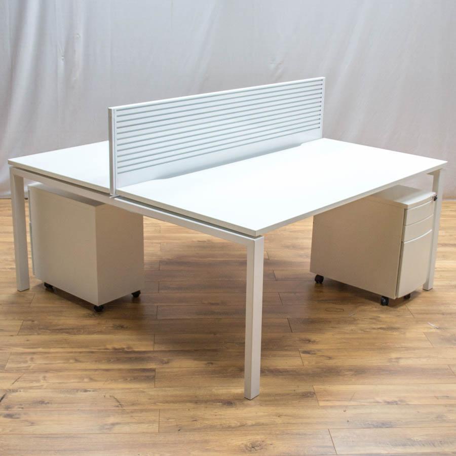 Task White 1600 Bench Desks