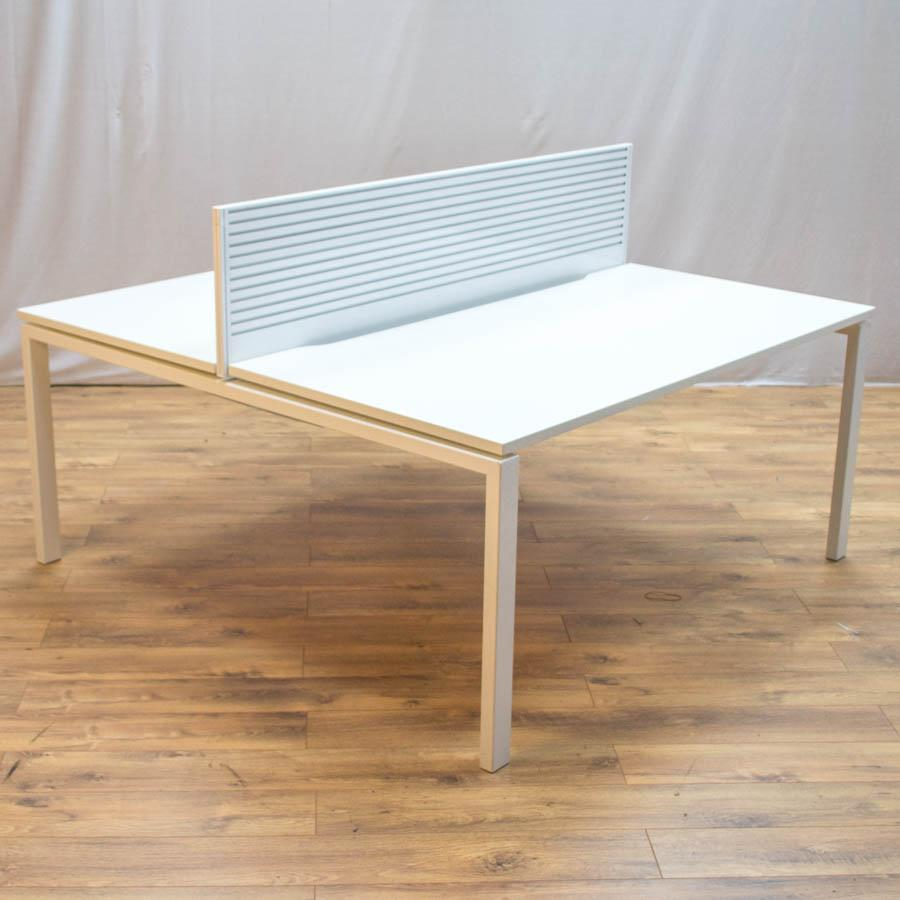 Task White 1600 Bench Desks