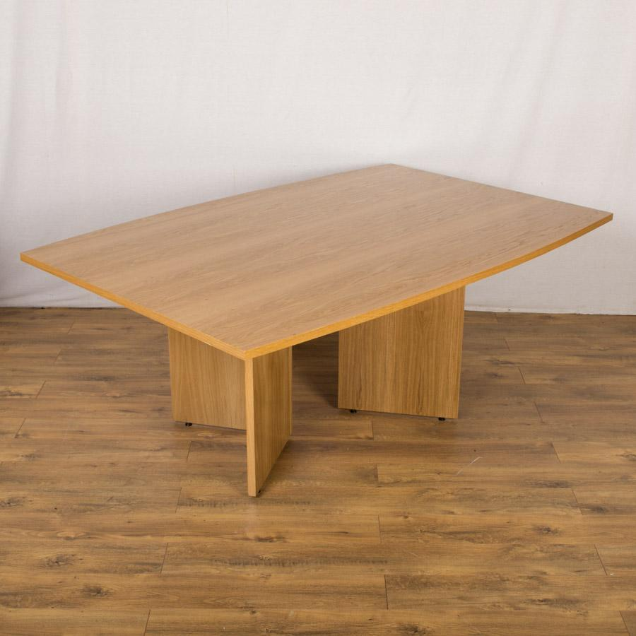 X Barrel Shaped Veneered Boardroom Table