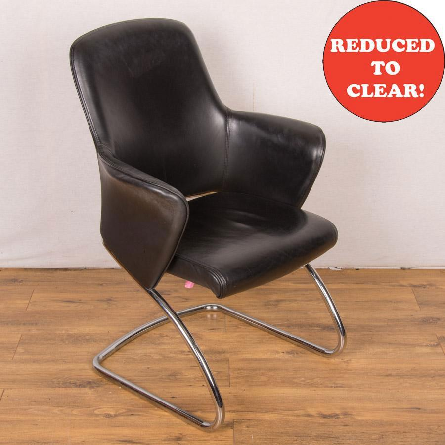 Senator Rhapsody RH901 Black Leather Meeting Chair