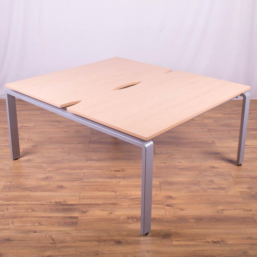 Beech 1400 Bench Desks - Silver Legs