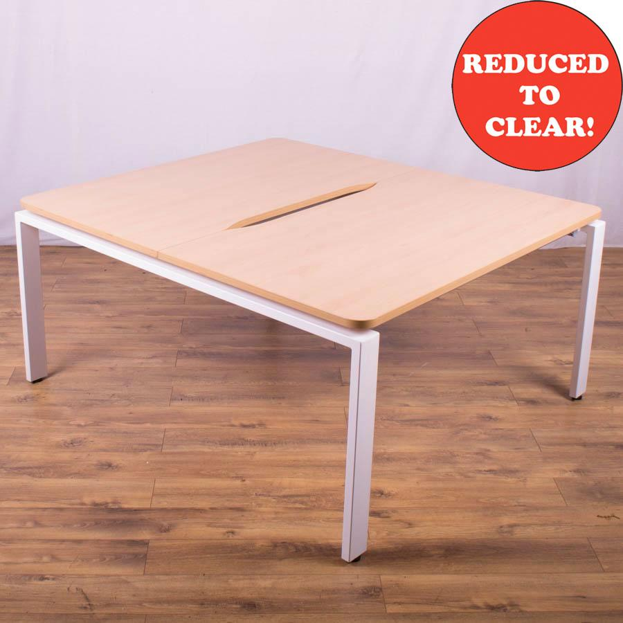Beech 1400 Bench Desks - White Legs