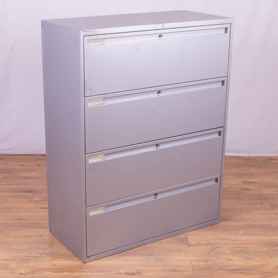 Silver Metal 4 Drawer Lateral Filing Cabinet