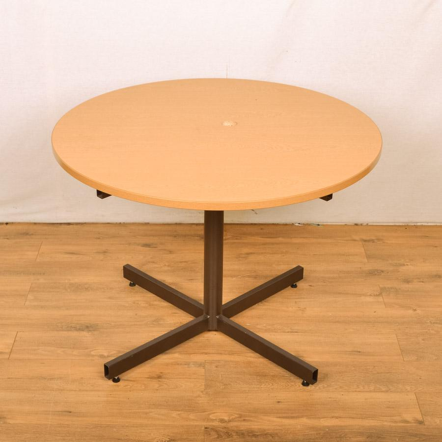 Grained Oak 1000D Round Office Table - Scratched