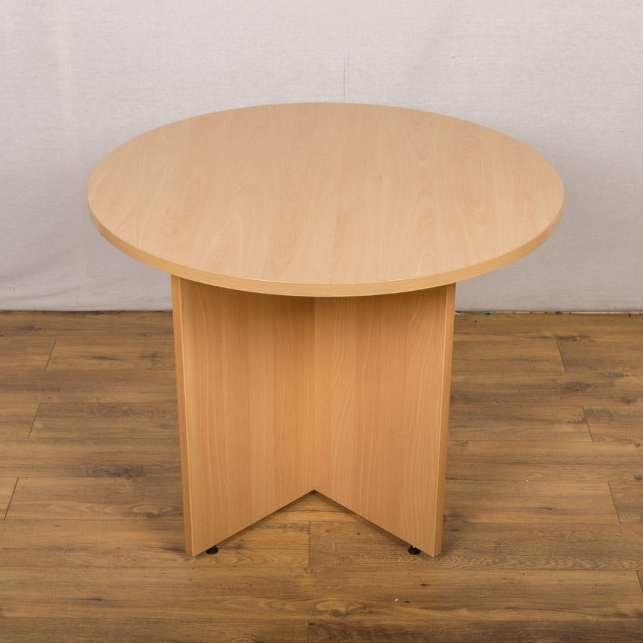Beech (Light) 1000D Round Office Table (RT61)