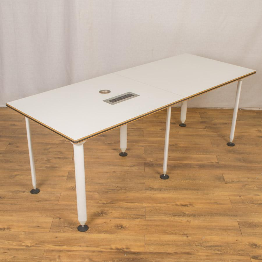 White 2000x800 Meeting Table