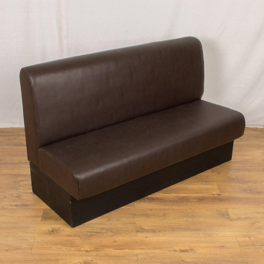 Brown Faux Leather 1400w Cafe Bench Worn Piping