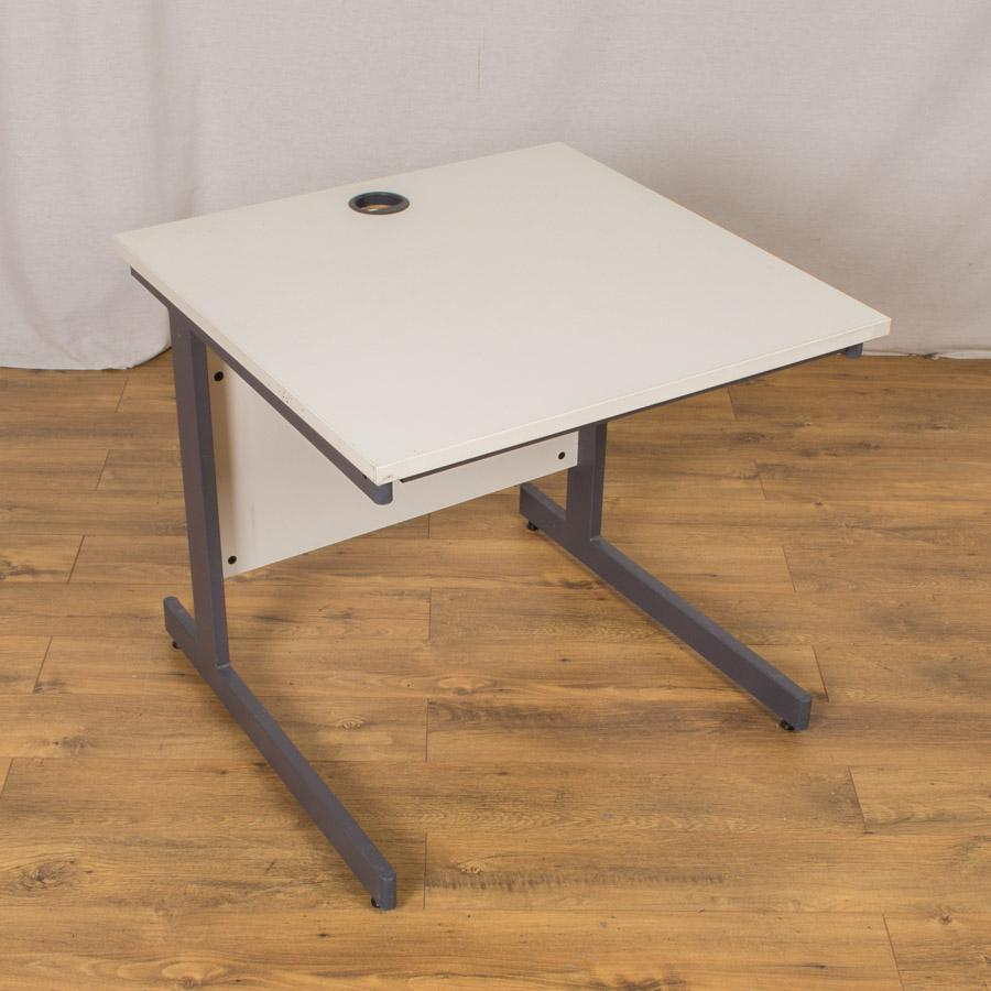 White 800x800 Straight Office Desk