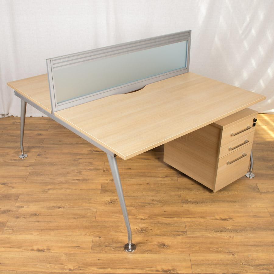 Mobili Vega Sand Zebrano Straight Bench Desks