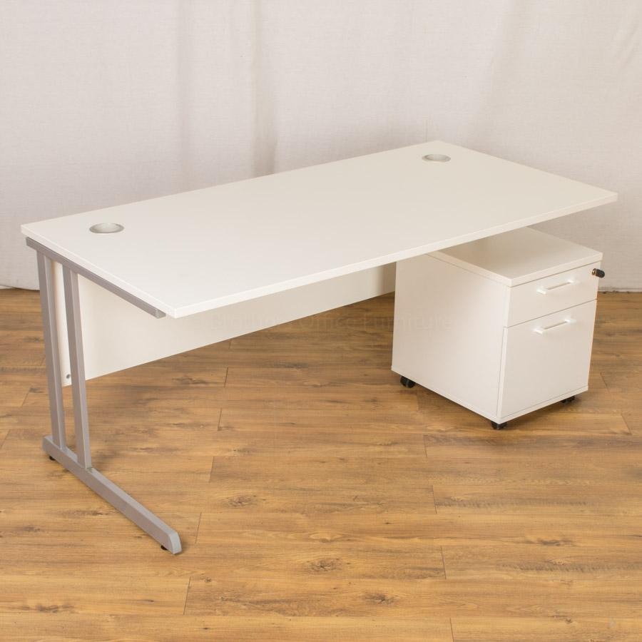 White Straight Office Workstation (Choice of Size)