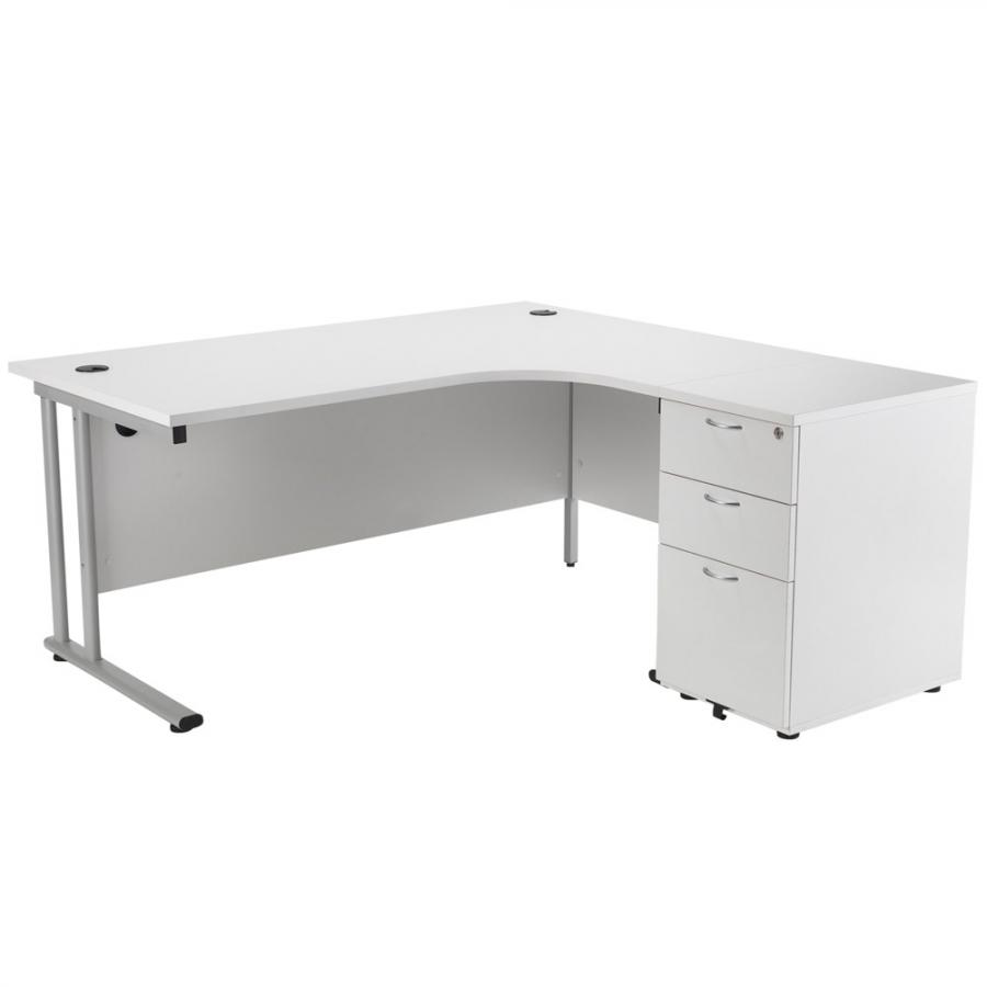 Brand New White 1600x1600 Corner Workstation
