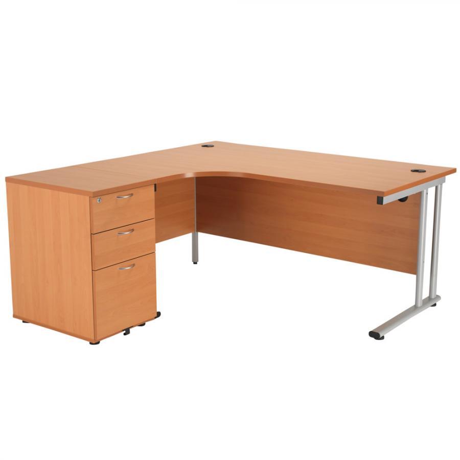 Brand New Beech 1600x1600 Corner Workstation