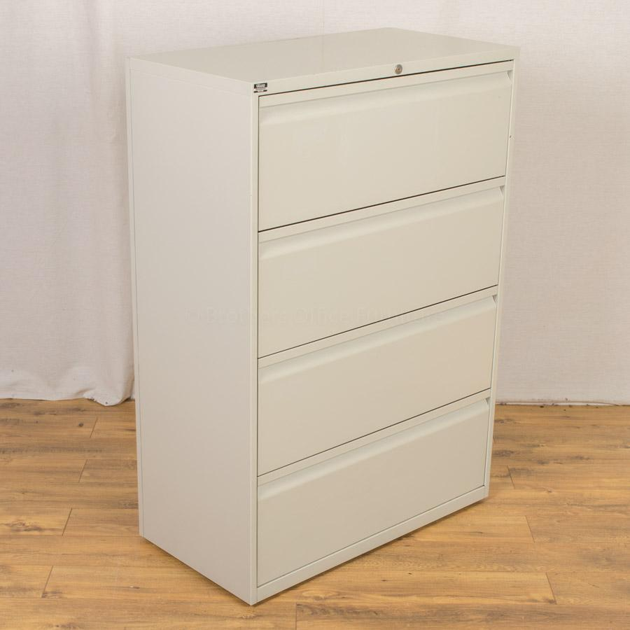 Light Grey 4 Drawer Lateral Filing Cabinet