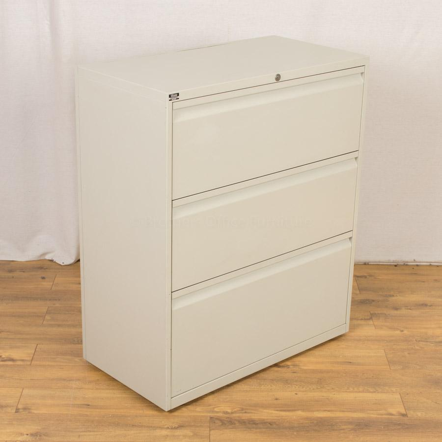 Light Grey 3 Drawer Lateral Filing Cabinet