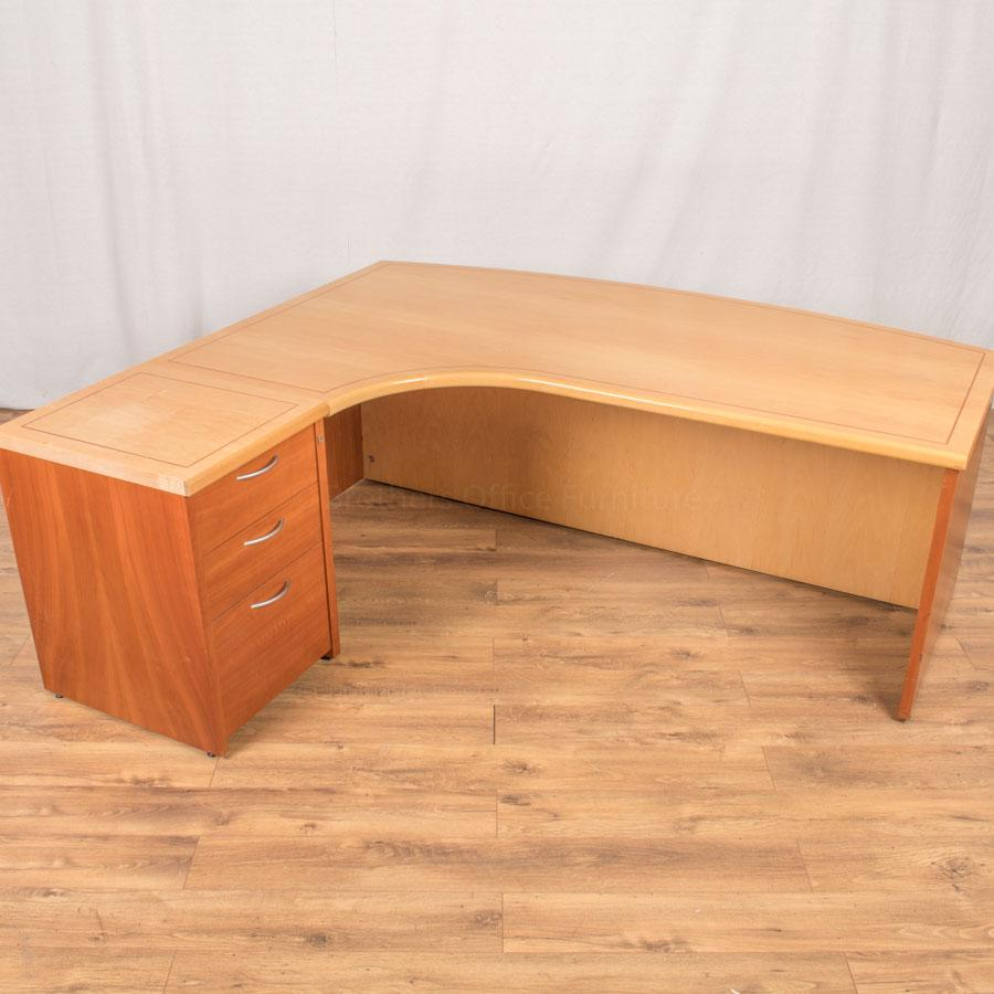 Maple with Cherry Inlay 2000x1800 Executive Desk