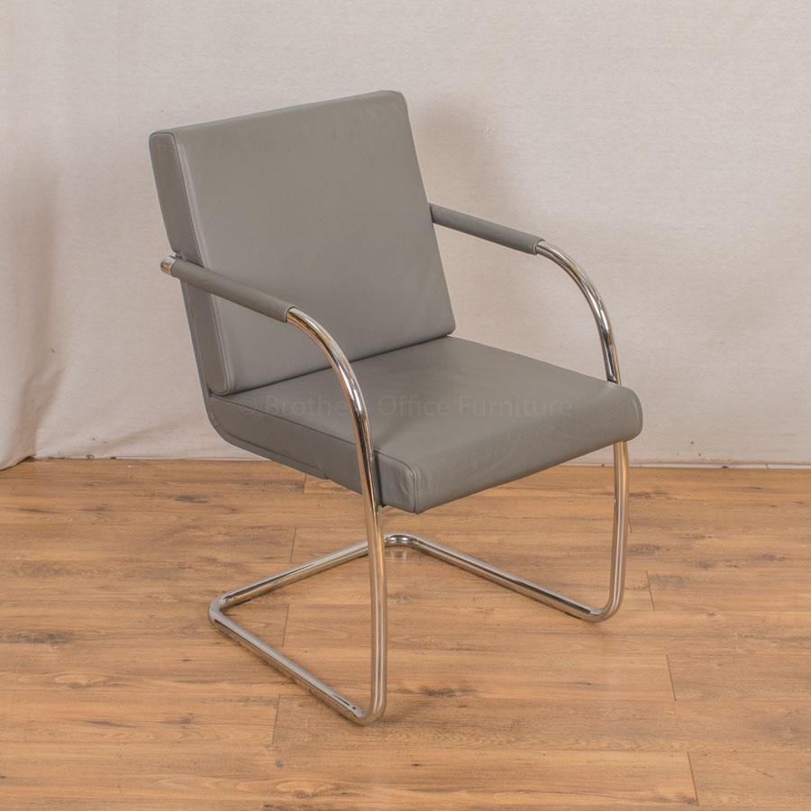 Genuine Grey Leather Cantilever Meeting Chair
