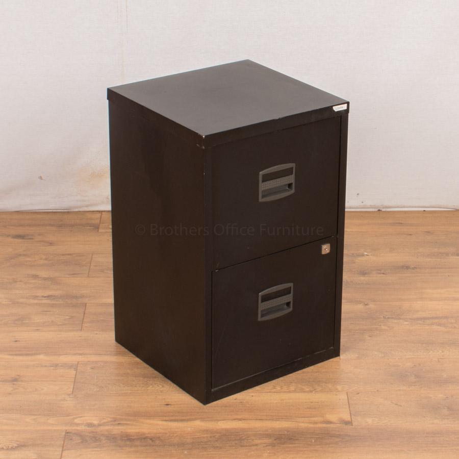 Black 2 Drawer A4 Steel Filing Cabinet