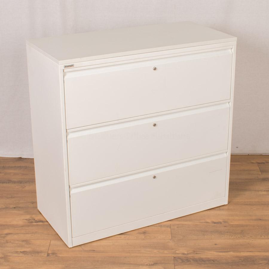 Triumph White Steel 3 Drawer Lateral Filer