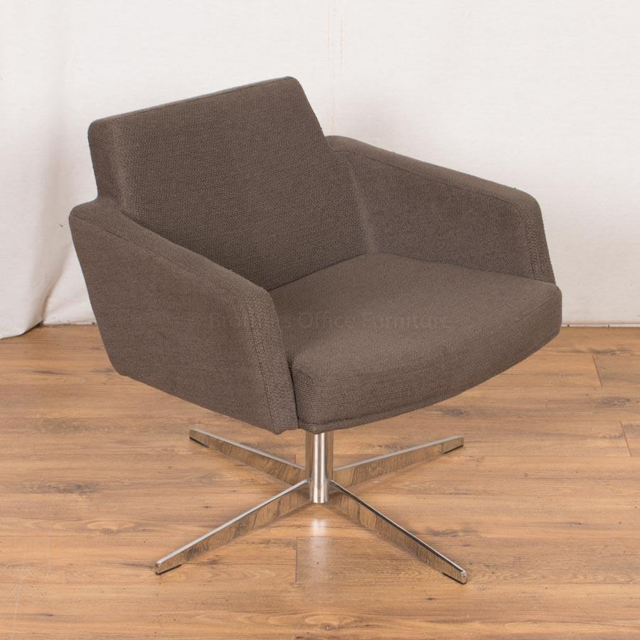 Grey Fabric Swivel Breakout Reception Chair