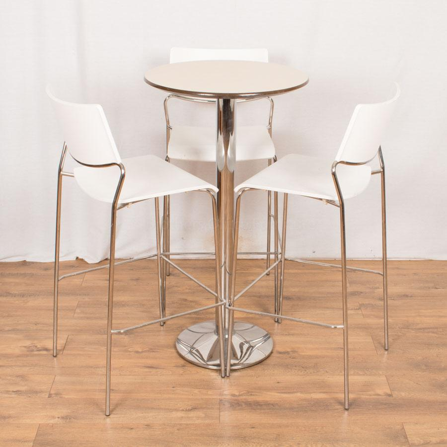 Tall Bistro Set with White Chairs