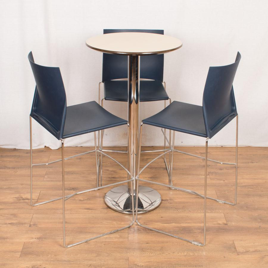 Tall Bistro Set with Blue Chairs
