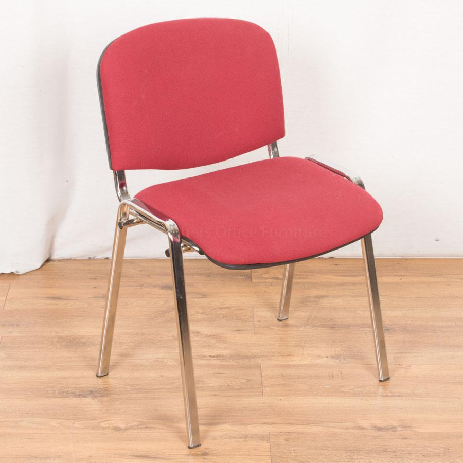 Wine Coloured Chrome Club Stacking Chair