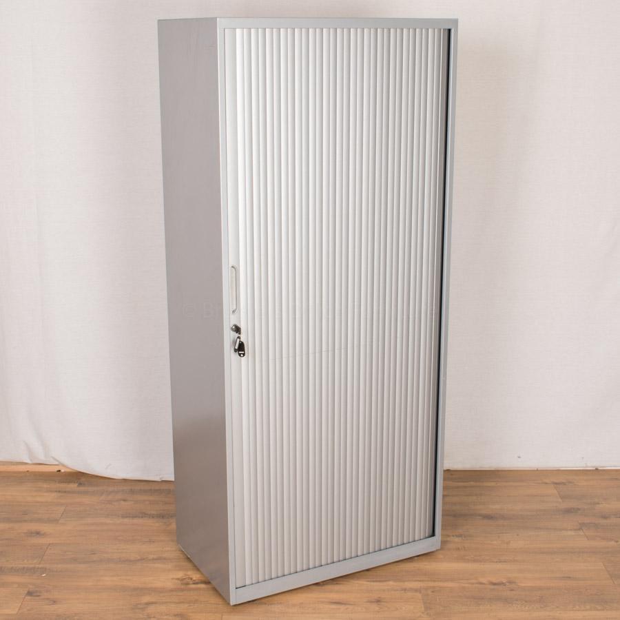 Silver Steel 1800H Tambour Cupboard