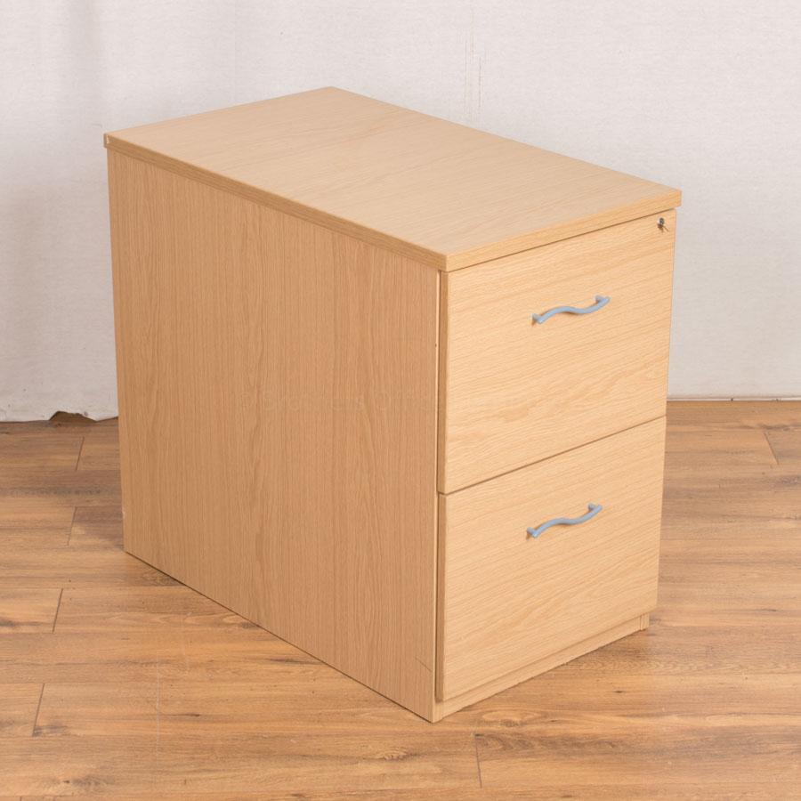Oak Desk High 2 Drawer Pedestal