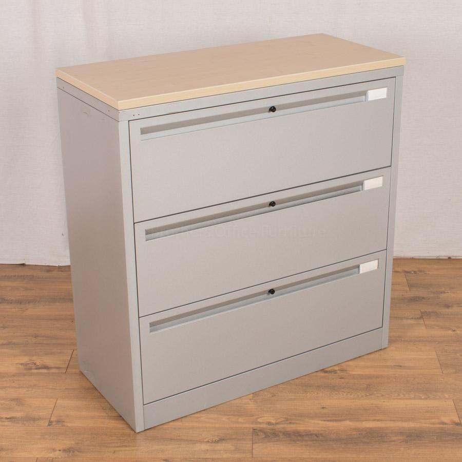 Samas S4 Silver Steel 3 Drawer Lateral Filer